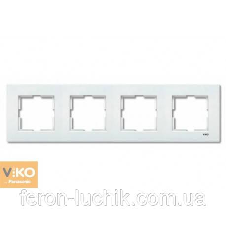 Рамка 4-я белая ViKO Karre горизонтальная, вертикальная