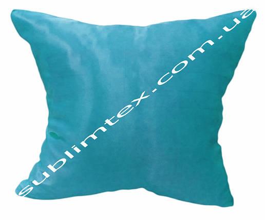 Подушка атласная,искусственная,цветная сторона+цветные уголки+кисточка,размер 35х35см., голубой, фото 2
