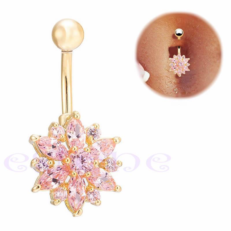 Пирсинг, сережка для пупка, украшенная горным хрусталем в форме ЦВЕТКА, цвет золото + розовый камень