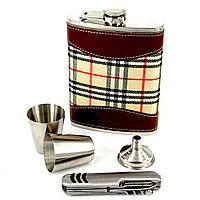 Фляга для алкоголя и перочинный нож Шотландка T019-1