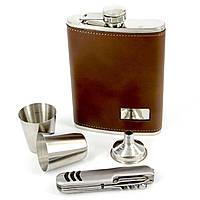 Фляга для алкоголя светло-коричневая и перочинный нож T019-2
