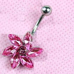 Пирсинг, сережка для пупка, украшенная горным хрусталем в форме цветка вихорь, цвет серебро + розовый камень