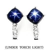 Серьги сапфир звездчатый синий натуральный с фианитами серебро 925 Квадрат b1dffccdcca