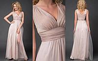 """Длинное нарядное платье """"MEDIN"""" с люрексом и декольте (4 цвета)"""
