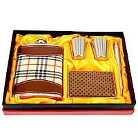 Фляга для алкоголя Шотландка с портсигаром T020-2