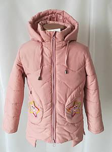 Детская куртка для девочек весна-осень удлиненная 22-28 пудра