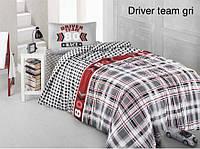 Полуторное детское постельное , хлопок ранфорс. Altinbasak (Турция), Driver team gry - полуторный