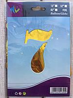 """Фольгированные шары цифры """"7"""" 16"""" (40 см) Золото Balloons"""