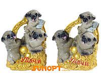 Статуэтка Три Собаки денежных на подкове (Керамика) №632