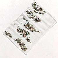 Стразы для ногтей (стекло) цветные в ячейках  SS3-SS10 упаковка (1440 шт.)
