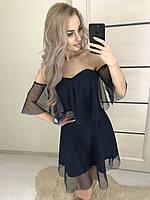 Короткое летнее платье без рукавов ft-392 темно-синее