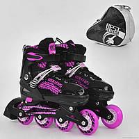 """Ролики 5800 """"L"""" Best Rollers /размер 39-42/ цвет-РОЗОВЫЙ (6) колёса PU, переднее колесо свет, в сумке d=7cм"""
