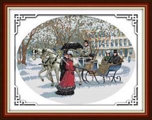 Зимний день R281 Набор для вышивки крестом с печатью на ткани 14ст
