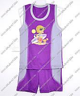 Гр а.22.b.0743.р.68 /фиолетовый с серыми вставками/ м.К-т тениска комб. с бриджами