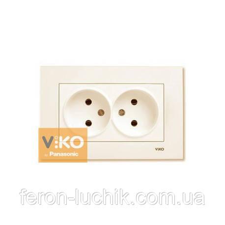 Розетка двойная без заземления Viko Karre скрытой проводки крем (Турция)