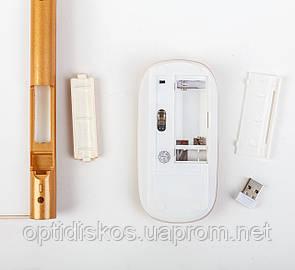 Беспроводной мини Набор (клавиатура+мышь), золотистая, фото 2