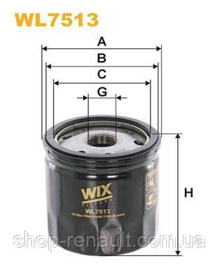 Фільтр масляний 1.5 DCI K9K 612 з 01.2015 WIX WL7513