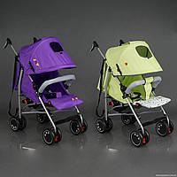 Коляска прогулочная JOY Q 2005 (2) 2 цвета в ящике /фиолетовый+салатовый/ широкий козырек, футкавер, d колес - 15см, в корке