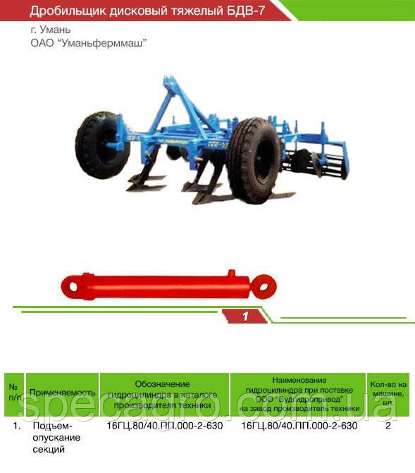 Гидроцилиндр подъема секции БДВ-7 | Дробильщик дисковый тяжолый БДВ-7 | 16ГЦ.80/40.ПП.000.2-630 П