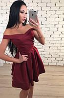 Платье женское с открытыми плечами и двойной юбкой ft-1025 бордовое