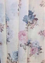 Гардинная ткань батист (сине-розовые цветы)