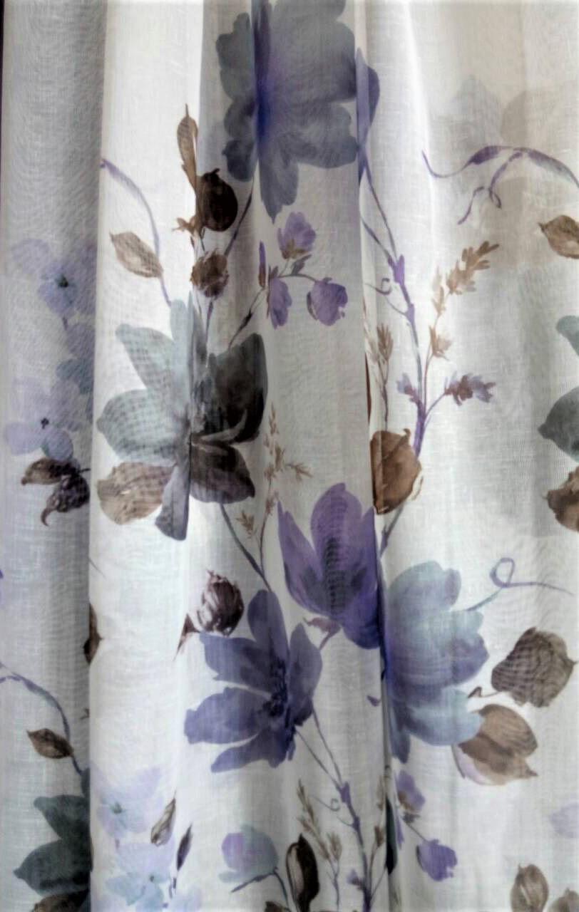 Гардинная ткань батист (серо-фиолетовые цветы)