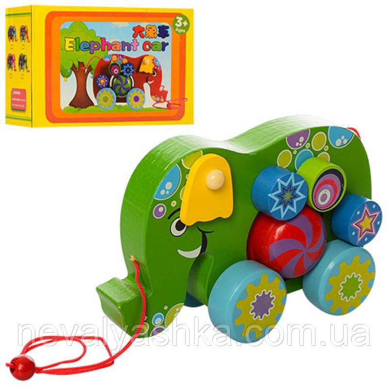 Деревянная игрушка Развивающая Каталка слон, MD 1135, 006729