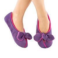 Домашние тапочки с завязками фиолетовые с розовым багира/ женские тапочки