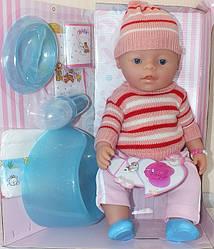 Кукла Пупс Baby born в вязаной одежде 8006-EPQR 9 функций и 10 аксессуаров