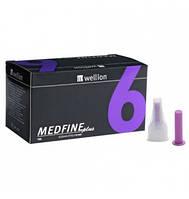 Иглы для инсулиновых шприц-ручек Wellion Medfine plus 0,25 мм (31G) х 6 мм, 100 шт
