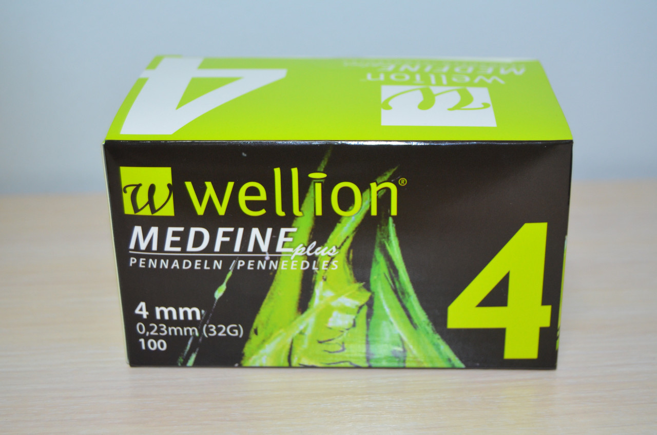 Иглы для инсулиновых шприц-ручек Wellion Medfine plus 0,23 мм (32G) х 4 мм, 100 шт