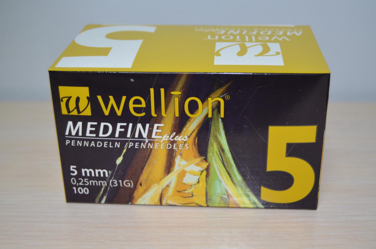 Иглы для инсулиновых шприц-ручек Wellion Medfine plus 0,25 мм (31G) х 5 мм, 100 шт