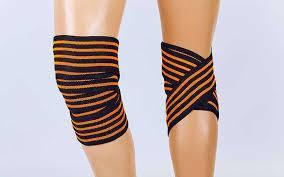 Бинты на колени (для приседаний) (1шт) TA-312-1 (PL, эластан, l-2,2м, черный-оранжевый)