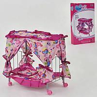 Кроватка кукольная с балдахином, на колесах. Кровать для куклы