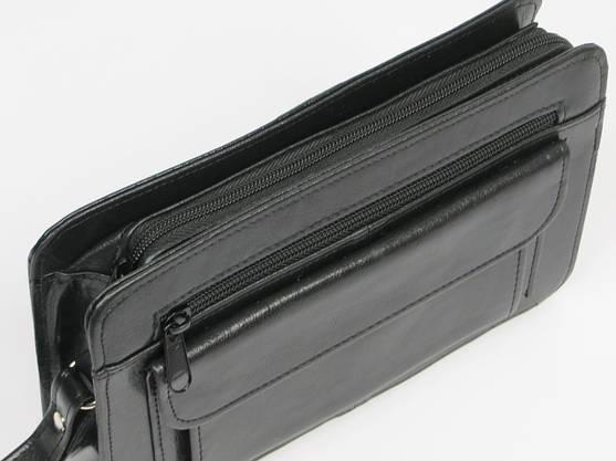 Мужская барсетка из кожезаменителя SM-1-64558 черная, фото 2