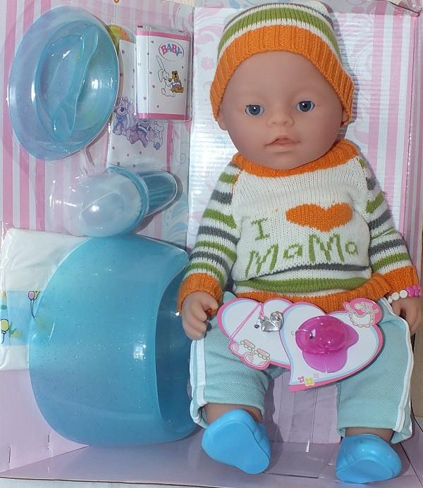 Кукла Пупс Baby born в вязаной одежде I love mama 8006-EPQR 9 функций и 10 аксессуаров