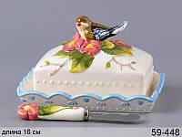 """Масленка """"Птица в цветах"""" с ножом, 15 см, Lefard, 59-448"""