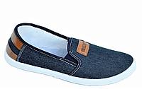 Мокасины, слипоны мужские синие джинс удобные практичные легкая подошва (Код: 1003)