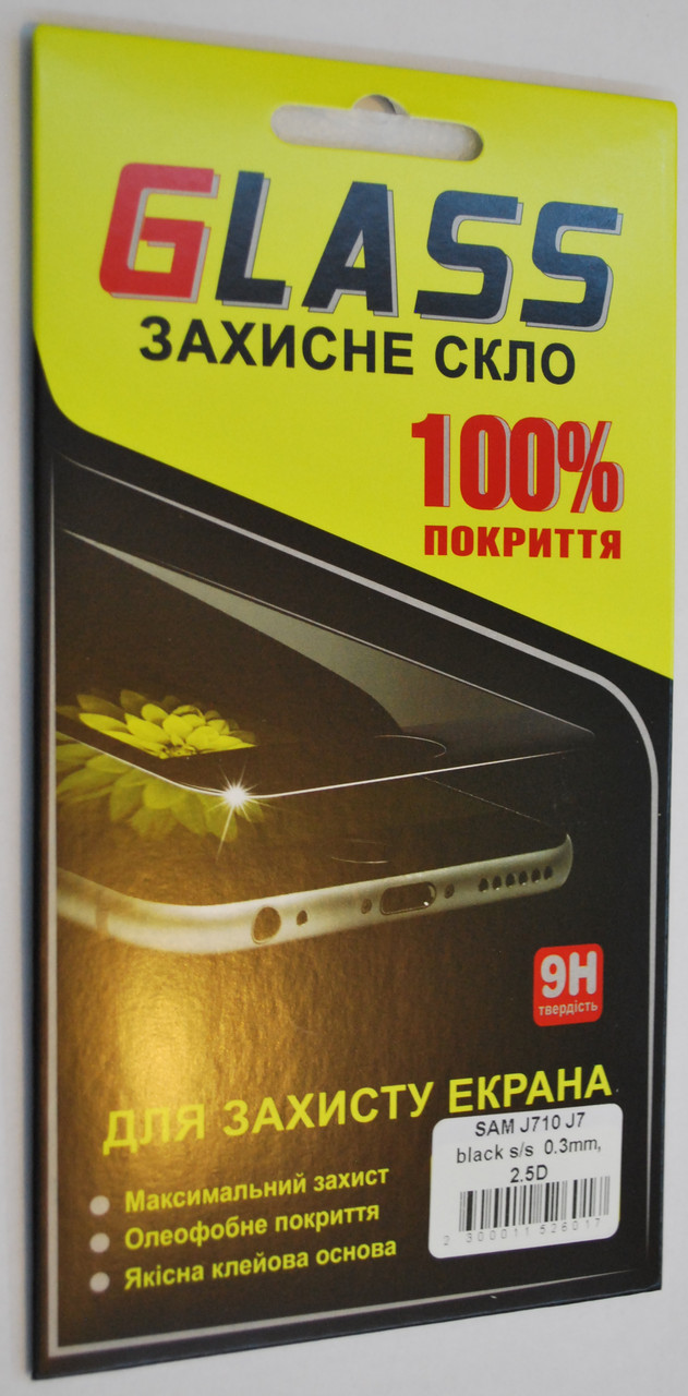 Защитное стекло с Silk Screen покрытием Tempered Glass for SAMSUNG J710 Galaxy J7 (2016) черное, F2057.1
