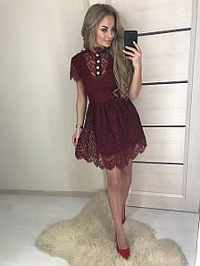 Короткое женское платье из гепюра ft-387 бордовое