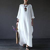 Платье оверсайз, свободный крой от стандарта до большого размера, на двойной основе льна, фото 1