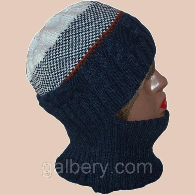 Женская вязаная зимняя шапка-трансформер