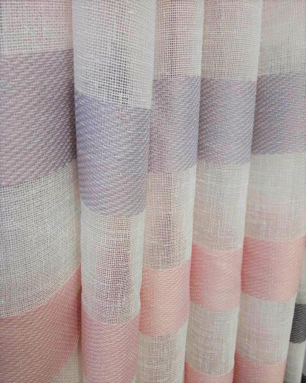 Гардинная ткань мешковина (розово-сереневая горизонтальная полоса низ)