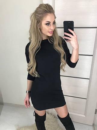 Короткое женское платье из трикотажа ft-390 черное, фото 2