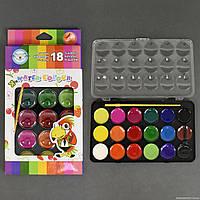 Краски акварельные для рисования 01428 (144) 18 цветов, с кисточкой, в коробке