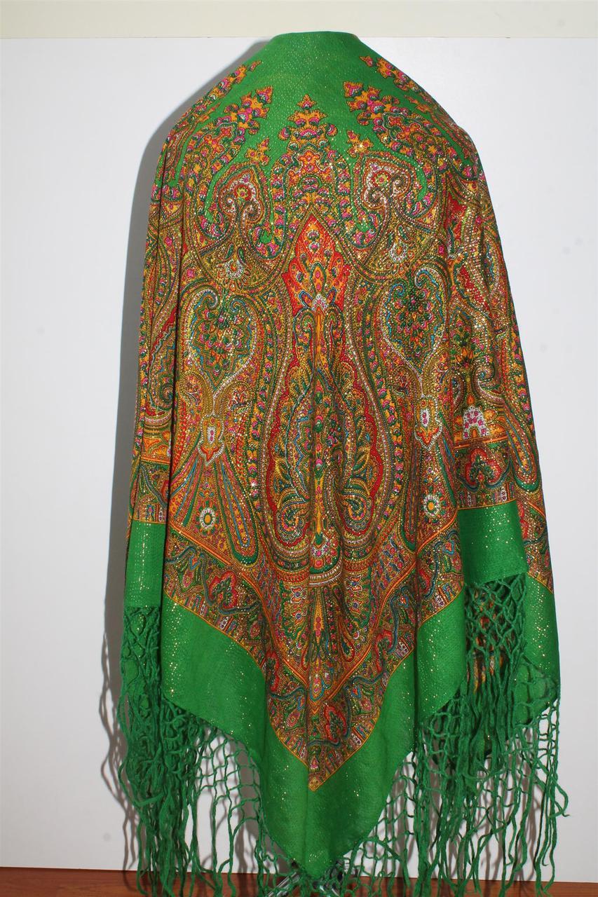 Настоящий зелёный платок шерстяной Украинский с люрексом