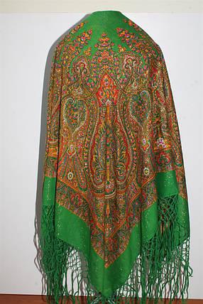 Настоящий зелёный платок шерстяной Украинский с люрексом, фото 2