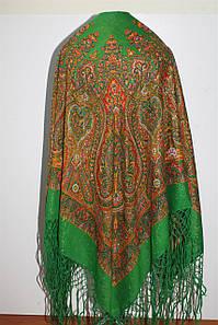 Настоящий зелёный платок шерстяной Украинский с люрексом ДЕФЕКТ!
