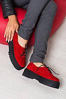 Женские туфли из натуральной замши на шнуровке красные