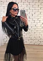 Куртка женская короткая из экокожи ft-397 черная